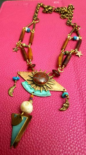 Artful design sun pendant copper agate and turquoise necklace for Sale in Washington, DC