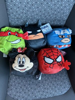 Cubd plushie pillows Spider-Man Minnie Captain America Batman Raphael (ninja turtles) for Sale in Los Angeles, CA