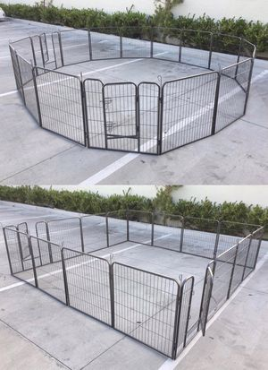 New in box 32 inch tall x 32 inches wide each panel x 16 panels exercise playpen fence safety gate dog cage crate kennel expandable fence perrera cer for Sale in Los Angeles, CA