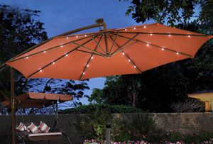 Burgundy Red 10' Patio Umbrella with LED Lights Outdoor Umbrellas Solar Powered Hanging Offset Cantilever Cross Bar Stand for Sale in Sacramento, CA