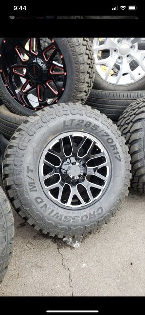 17x9 black rims 6 lug 6x139 6x135 whit New MUD tires 285 70 17 lt for Sale in Phoenix, AZ