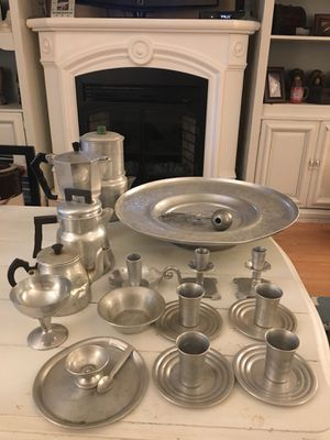 HUGE LOT of antique/vintage aluminum serving and decor pieces for Sale in Burke, VA