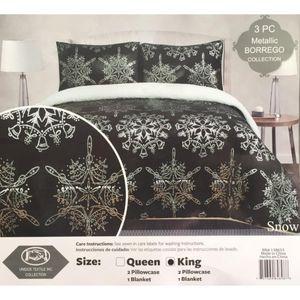 3 PC Metallic Borego Blanket Set - Queen & King for Sale in Durham, NC