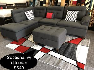 New sectional with storage ottoman for Sale in Fresno, CA