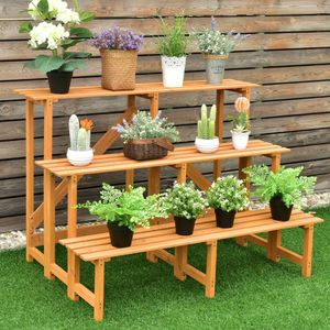 3-Tier Wide Wood Flower Pot Step Ladder Plant Stand GT3215 for Sale in Santa Ana, CA