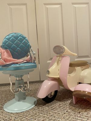Doll salon chair and moped combo for Sale in Medford, NJ