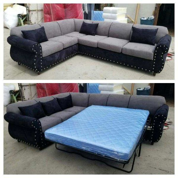 NEW CHARCOAL MICROFIBER SECTIONAL WITH SLEEPER COUCHES
