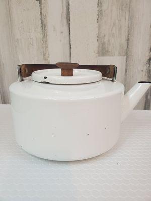 Copco White Enamel Tea Kettle -Teak Handle -Michael Lax Design- Vintage . for Sale in Tacoma, WA