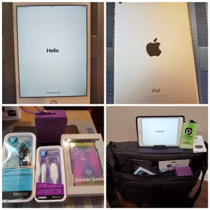 IPAD MINI 4 + WIFI Verizon. 3 CASES, SCREEN PROTECTORS, BLUETOOTH EARBUDS, lightening KEYCHAIN charging cord, portable power bank, speaker for Sale in Olympia, WA