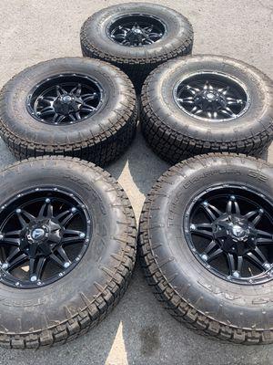 "Like new Black Fuel Rims And 37"" Nitto All Terrain Tires Fuels Wheels & Nittos 2020 Gladiator / JL JLU Rubicon Rines y llantas 2016 Jeep 2017 JK 2015 for Sale in Dallas, TX"
