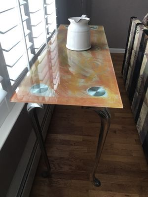 Console Table or Desk Orange & Yellow Custom Glass for Sale in Toms River, NJ