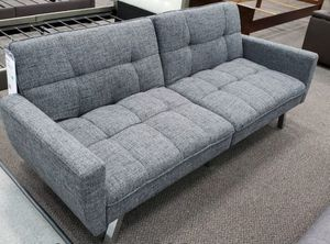 Brand New Grey/Ash Black Linen Futon Sofa Bed for Sale in Silver Spring, MD