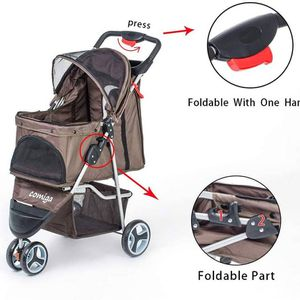 COMIGA PET STROLLER, 3-WHEEL CAT STROLLER, FOLDABLE DOG STROLLER WITH REMOVABLE LINER AND STORAGE BASKET 655160 for Sale in Sun City, AZ