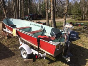 Lund deep 14 foot boat with 4 hp Yamaha 4 stroke outboard motor. Shore Lander trailer included. $1250! for Sale in Deer River, MN