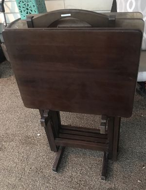 Set of 4 wood TV table trays and stand - made in Thailand for Sale in Sterling, VA
