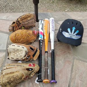 SOFTBALL FASTPITCH 3 BATS AND 4 GLOVES And Helmet for Sale in Phoenix, AZ