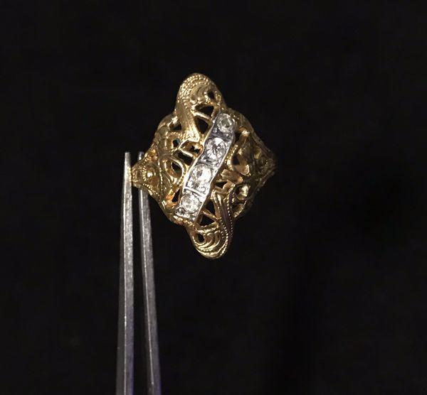 Silver Cross Pendant + gold ring combo