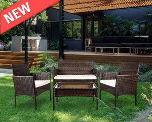 4 PC Outdoor Garden Rattan Patio Furniture Set With Tempered Glass Tabletop(Brown) for Sale in Philadelphia, PA
