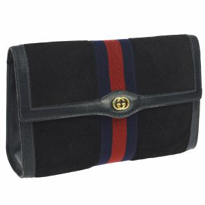 Pre Owned GUCCI PARFUMS Shelly Line Clutch Hand Bag Navy Suede Leather Vintage for Sale in Henderson, NV
