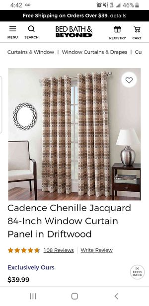 Four 84 Inch curtain panels and rod for Sale in Boca Raton, FL