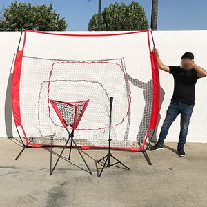 Brand New $90 Baseball Practice (3pc Set) includes the 7'x'7 Net Bow Frame, Ball Tee and Caddy Bag for Sale in Pico Rivera, CA
