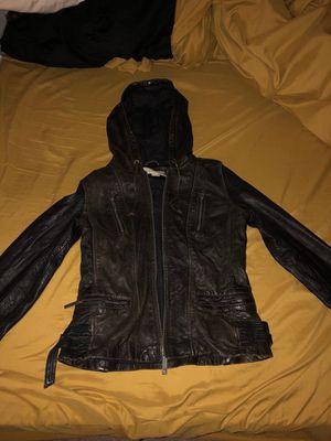 Brown leather jacket with hoodie for Sale in Lake Ridge, VA