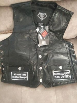 Genuine Leather bikers vest large for Sale in Tampa, FL
