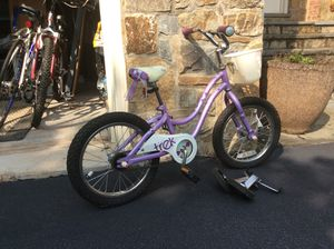 """Girls' Mystic Trek 20"""" bike with training wheels. Barely used 3-4 times, excellent condition! for Sale in Leesburg, VA"""