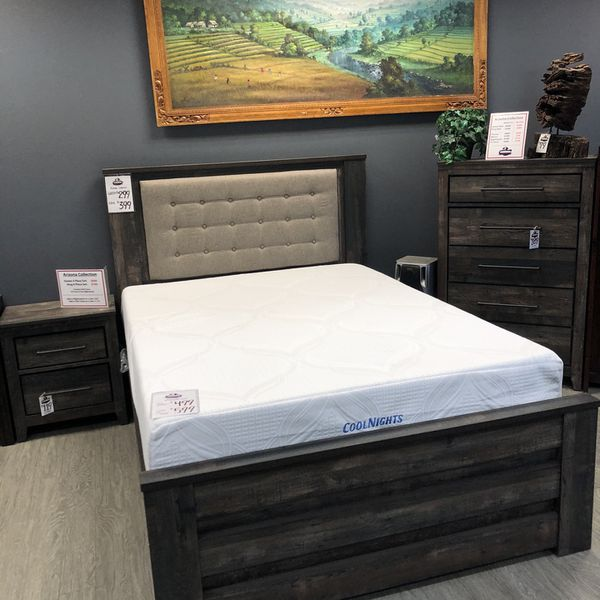 New & I Stock! Rustic Queen Bed W/ Padded Headboard Only $299! $399 King