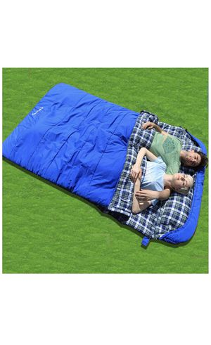 KingCamp Cotton Flannel 3 Season Envelope Sleeping Bag for Adult and Youth with Pillow, Double and Single Size, for Camping and Outdoor for Sale in Santa Barbara, CA