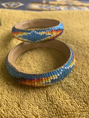 Native American Hand beaded bracelets on buckskin for Sale in Portland, OR
