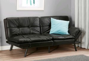 Fuax leather futon black new for Sale in Houston, TX