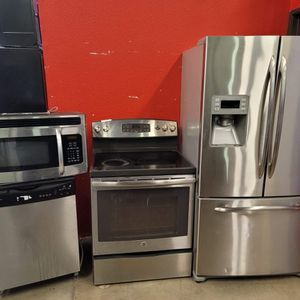 Stainless steel appliances set fridge stove dishwasher microwave all good working conditions set for $999 for Sale in Wheat Ridge, CO