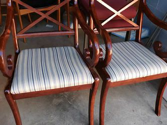 Pair of Rolled Arms Mahogany Upholstered Chairs By Bombay for Sale in Germantown,  MD