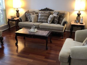 French Provincial Living Room Pink Marble Coffee Table And Side End Tables for Sale in Cypress,  TX