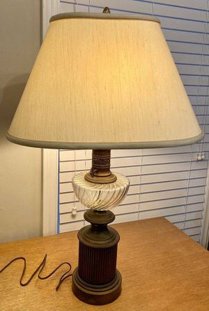 Vintage Antique Mid Century Modern MCM Large Brass Crystal Cut Glass Table Lamp for Sale in Chapel Hill, NC