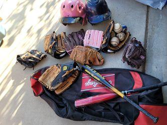 Baseball Set , 8 Gloves, 6 Baseballs, Baseball Bats 2 for Sale in Beaumont,  CA