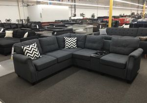 Modular sectional sofa couch blue grey fabric for Sale in Lynwood, CA