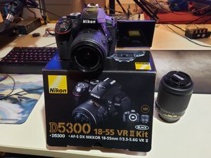 Nikon D5300 w/ 2 lenses, 2 batteries obo for Sale in Austin, TX