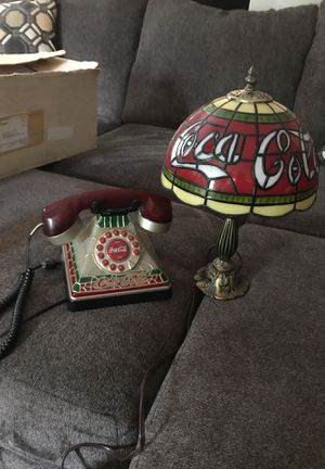 Coca Cola Antique Stained Phone and lamp for Sale in Cowpens, SC