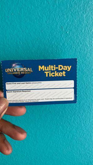 Universal Multi Day Ticket for Sale in Orlando, FL