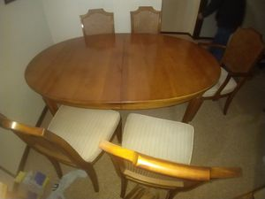 8 feet long vintage Davis cabinet co table chairs kitchen dinning set for Sale in Champlin, MN