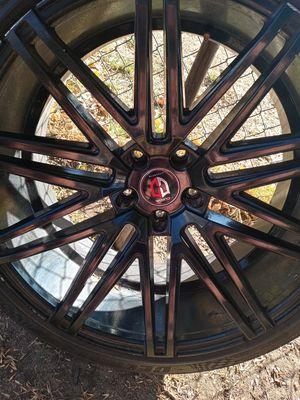 Curva concepts 22' rims on delinte desert storm low profile tires for Sale in San Bernardino, CA