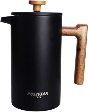 French Press Coffee Maker, 34 Ounce Coffee Press with Teak Wood Handle, Double Wall Insulation & Dual- Filter Screen for Sale in West Covina, CA