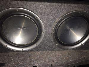 "Kenwood 12"" 1600 w Subs in box w/ 1600w Planet Audio Amp for Sale in Kalkaska, MI"