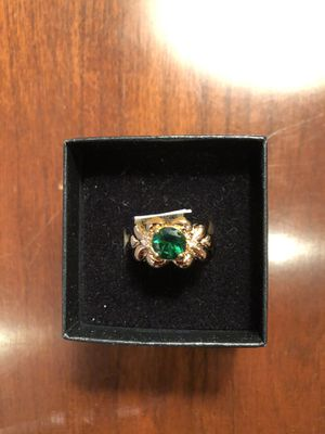 Bridal Jewelry 14K Gold Plate Genuine Emerald Genuine Diamond Ring Size 6 for Sale in Feasterville-Trevose, PA