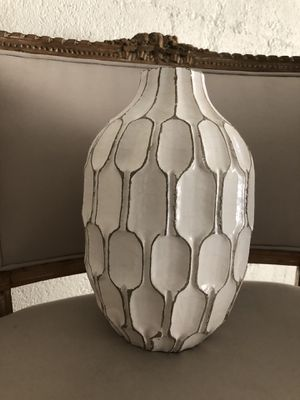 West Elm White Geometric Pattern Textured Vase for Sale in Santa Monica, CA