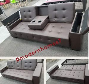 Brown leather Sofa bed sleeper couch futon with storage and cup holders for Sale in Fontana, CA
