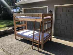 Solid wood bunk beds with mattresses for Sale in Gladstone, OR