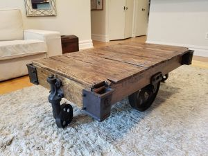 Industrial factory cart wood coffee table/lineberry for Sale for sale  Brooklyn, NY